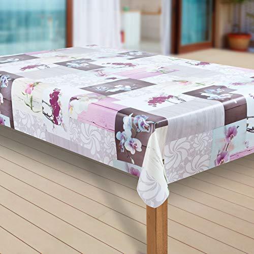 laro Wachstuch-Tischdecke Abwaschbar Garten-Tischdecke Wachstischdecke PVC Plastik-Tischdecken Eckig Meterware Wasserabweisend Abwischbar GAC, Muster:Orchidee, Größe:100x140 cm