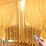 LED Window Curtain String Light -8 Lighting Modes Fairy Lights with Remote Control, USB...