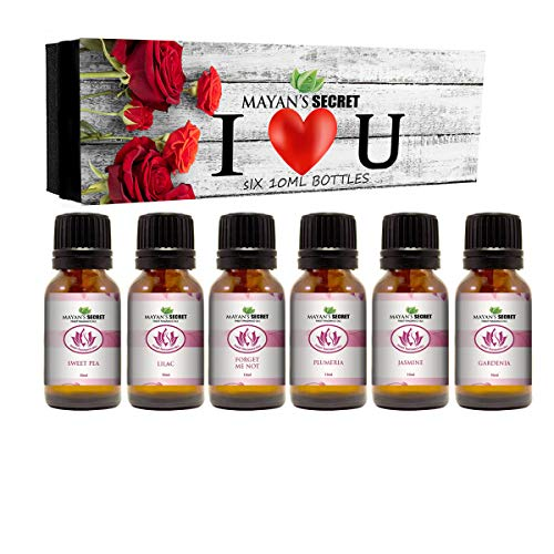 Premium Grade Fragrance Oil- I Love You - Gift Set 6/10ml,Forget me not, Plumeria, Jasmine, Lilac, Sweet Pea, Gardenia