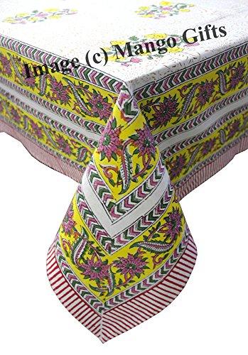 Mango-Gifts Coton Floral Home Decor Main Bloc Imprimé Indien Nappe Coque 150 * 220 cm