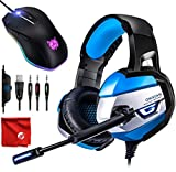 ONIKUMA K5 Blue LED Light Pro Over-Ear 7.1 Surround Sound Noise Cancelling Gaming Headset Headphones Microphone Bundle with 8000 DPI RGB Wired Mouse for PC, MAC, Desktop, Laptop Computer