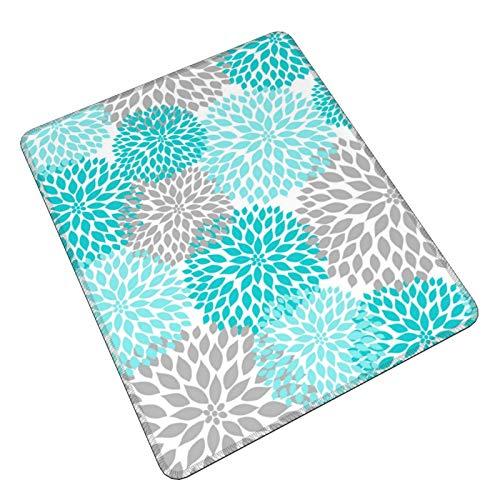 Tapis de souris de jeu à motif floral turquoise bleu sarcelle gris pour salle de bain