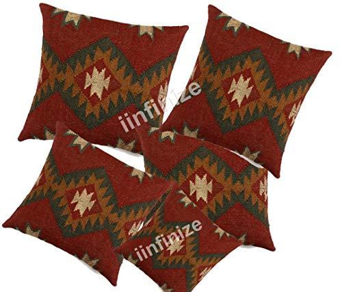 iinfinize - 5 Stück handgefertigte Kissen, indische Kissenbezüge, handgeknüpft, Vintage-Stil, türkischer Kissenbezug, Kelim-Kissen, dekorativer Kissenbezug.