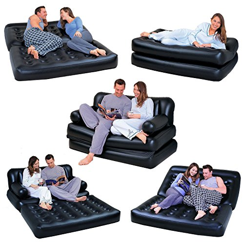 NEW 5 IN 1 DOUBLE BLACK INFLATABLE AIR SOFA CHAIR COUCH LOUNGER BED...