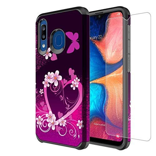 Galaxy A20/A30/A50 Case w[Tempered Glass Screen Protector] Girls Women Silicone Defender Heavy Duty Protective Phone Cover Cases Compatible for Samsung Galaxy A20/A30/A50/A205U - Hot Pink Heart
