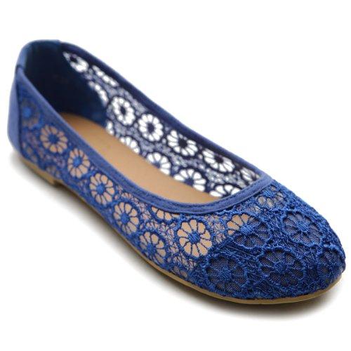 Ollio Damen Ballettschuh Floral Lace Atmungsaktiv Flach, Blau (königsblau), 40.5 EU