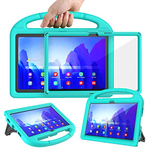 Surom Kids Case with Built-in Screen Protector for Samsung Galaxy Tab A7 10.4' 2020 (Model SM-T500/T505/T507), Light Weight Shockproof Handle Stand Protective Case for Tab A7 10.4 Inch 2020, Turquoise