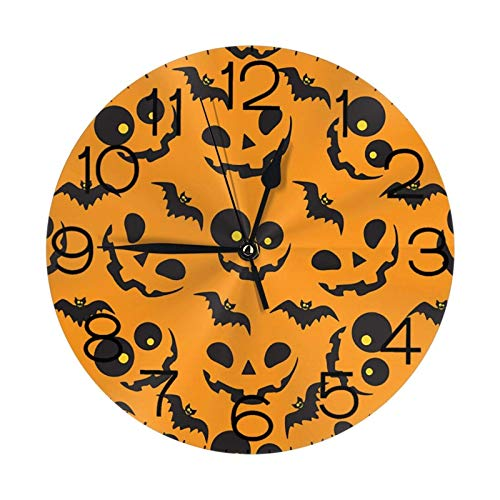 ZCHW Orange Pumpkins and Bats Wall Clock Waterproof Decorative Clocks Lightweight Clock with Roman Numeral Hands Durable Round Wall Clock