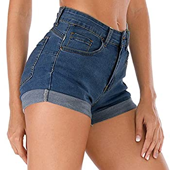 Cuihur Women s Summer High Waisted Denim Shorts Folded Hem Casual Short Jeans Navyblue S