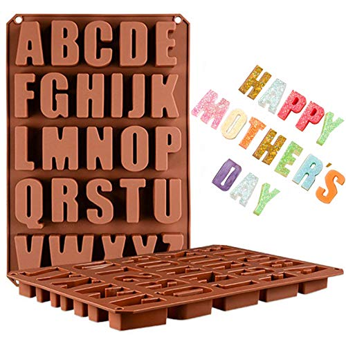 Wocuz 26 Cavities A-Z large letters reverse Alphabet Chocolate Silicone Cake Baking Mold Cake Pan Muffin Cups Handmade Soap Moulds Biscuit Ice Cube Tray DIY crayon Drops Mold for Mother's Day or other festival