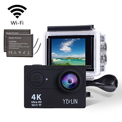 YELIN Action Camera 4K WiFi Waterproof Sport Camera HD 12MP Camcorder 170 Degree Lens with 2-inch LCD Screen 2 Rechargeable Li-ion Batteries Mounting Accessory Kits (Black)