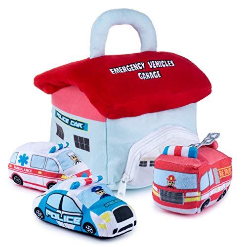Plush Toy Emergency Vehicles for Toddlers | Emergency Vehicle Toys for Toddlers | Emergency Toys | Police Car Plush | Ambulance Toys | 3 Soft Emergency Vehicles | Real Siren Sounds | Plush Car Garage
