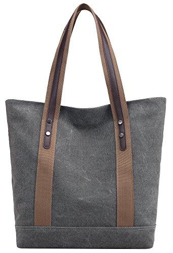 Damen Leinwand Handtasche Umhängetasche Tasche Shopper Henkeltasche aus Canvas Grau