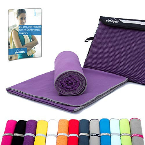 Mikrofaser Handtuch Set - Microfaser Handtücher für Sauna, Fitness, Sport I Strandtuch, Sporthandtuch I Lila | XS(50x30cm) ohne Tasche