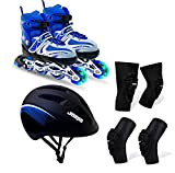 JASPO Sparkle Intact Adjustable Inline Skates Combo with Front Light up Wheels Beginners Skates Fun...