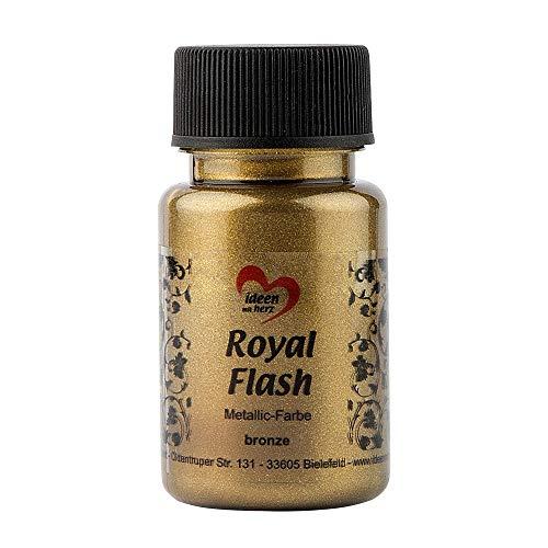 Royal Flash, Acryl-Farbe, metallic, mit feinsten Glitzerpartikeln, 50 ml (bronze/gold)