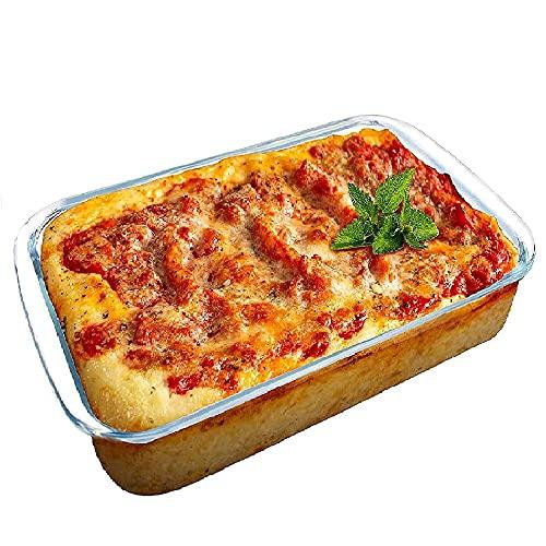 Bandeja para hornear, plato de hornear de cristal rectangular 1L, Oventray, Bakeware, Traybake para pan de pastel, para cocina casera 25.8 * 15 * 4,5 cm,Clear