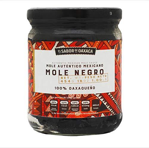 Mole Negro PREMIUM de El Sabor de Oaxaca, Authentic Mexican Mole Sauce, Mexican Gourmet Artisan Product, (16 Oz)