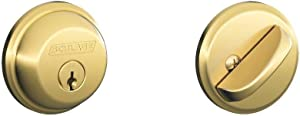 SCHLAGE Lock CO B60N505 Single Cylinder Deadbolt Door Lock, Bright Brass