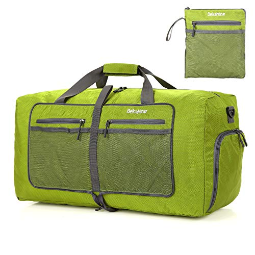 Bekahizar 60L Foldable Duffle Bag Large Lightweight Packable Travel Weekend Duffel with Shoe Compartment and Shoulder Strap for Luggage, Gym, Sport, Camping, Storage, Shopping (Olive Green)