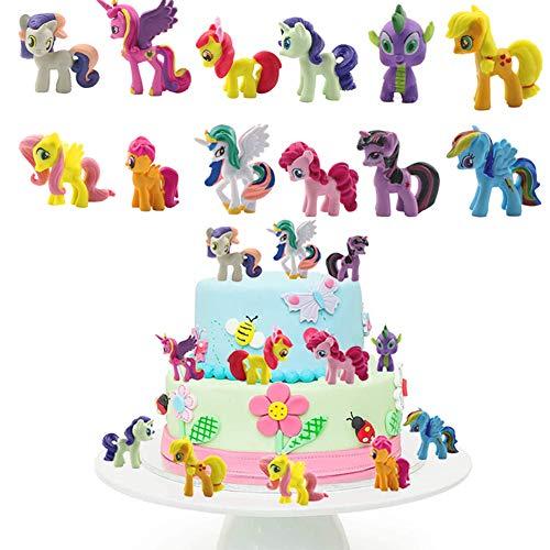 SUNSK Decoración De Pastel De Unicornio Cake Topper Unicornio Decoración de pastel de cumpleaños de dibujos animados para Cumpleaños Decoración de La Torta del Banquete de Boda 12 Piezas