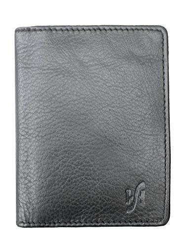 Titolare della carta di credito in vera pelle bifold da uomo con rivestimento RFID STARHIDE 105 (nero)