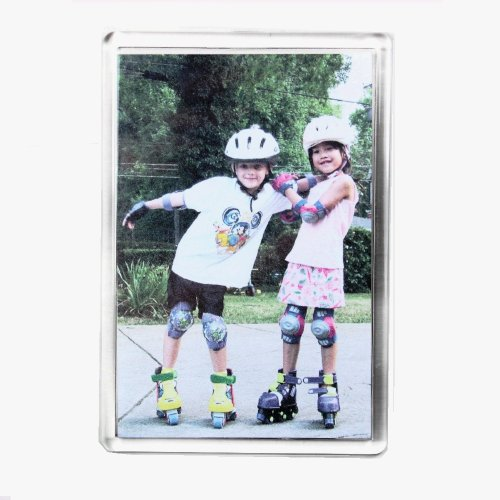 PC3721@ Imán para refrigerador fotográfico acrílico Transparente en Blanco Jumbo de 89 x 59 mm Inserto - Modelo E1317 (10 Piezas)