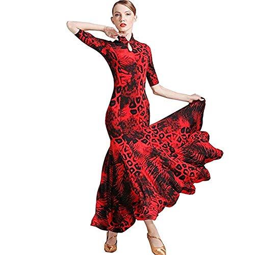 Turnierkleidung, Tangokleid, Rockkostüm for Modernen Tanz, Rock for Gesellschaftstanz (Color : Red, Size : XL)