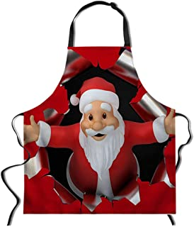 Dreaweet Red Santa Printed Kitchen Aprons for Woman Xmas Aprons for Adults Men Dinner Party Cooking Apron Baking Accessories