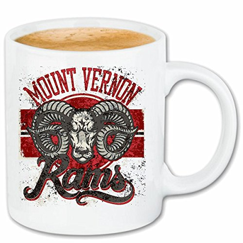 Reifen-Markt Koffie Mok Thee Cup MOUNT VERNON RAMS BUFFALO WATER BUFFALO DODGE RAM VERNON BUFFALO WILD DIEREN Ceramic 330 ml in wit