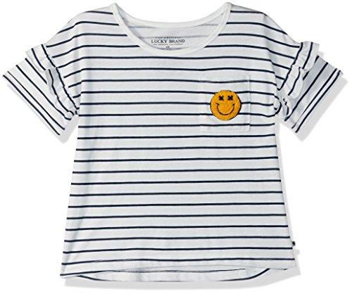 Lucky Brand Little Girls' Short Sleeve Fashion Top, Susanna White, 4/5
