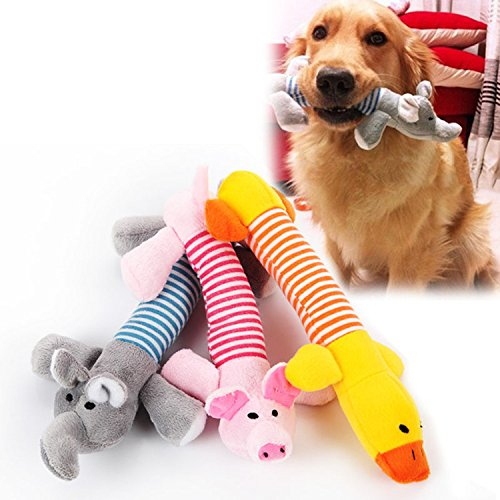Jooee Creative Life Pet Puppy Chew Squeaker Squeaky Plush Sound Pig Elephant Duck for Dog Sound Toys-Pack of 3