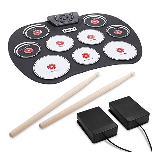 Portable Electronic Drum, VAlinks 9 Keys Electronic Drum Set Pad Foldable Roll Up Drum Practice Best Birthday Christmas Gift for Kids