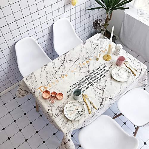Mantel, patrón de mármol Blanco Impermeable a Prueba de Agua Rectángulo de algodón y Mantel de Ropa de Cama, Mantel Impreso, Mesa de Fiesta para niños Boyuewenhuachuanboyo