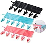 Product Image of the T&B Bathroom Racks Cloth Hanger Clothespin Travel Portable Folding Cloth Socks Drying Hanger with 6 Clips Pack of 3