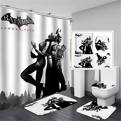 xingy&eshoop Duschvorhang-Batman Verdickt Wasserdichtes Und Schimmelresistentes Badezimmer, Hotel Polyester Stoff-Vierteiliges Badezimmer 180X180Cm