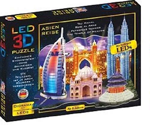 Bavaria Home Style Collection 3D Puzzle LED Diorama Puzzle Städte Reise 51 Teile Made in Germany I 3D Leuchtpuzzle Bauwerke mit farbwechselnden LEDs für Kinder ab 8 und Erwachsene (Asien Reise)