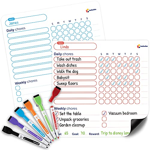 Dry Erase Behavior & Chore Chart – Individual Magnetic White Board Reward & Chores Chart Set for 2 Kids + 6 Colored Markers with Eraser Caps –...