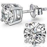 Pendientes Mujer Hombre Plata De Ley 925 Diamante Oro Blanco Circonita Pendientes 6mm