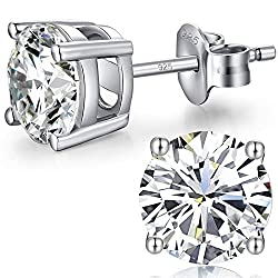 ❤ 4mm To 8mm Size Are Available. 4mm(0.25ct),5mm(0.5ct),6mm(0.8ct),7mm(1.25ct),8mm(2.0ct). ❤ 925 Sterling Silver Pricess Cut Cubic Zirconia Stud Earrings, Stamped 925 On Scrolls And Posts.top 5a+ Quality Cubic Zriconia.sparkle And Looks Like Real Lux...