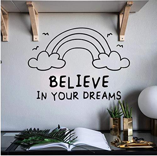Calcomanía de la pared Citas de motivación cree en sus sueños Arco iris Vinilo Ventana Etiqueta Dormitorio Decoración de Hogar Letras Palabras Mural 42x30 cm