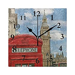 FunnyCustom Phone Booth Big Ben Street Square Wall Clock 7.8 Inch Hanging Clock for Living Room/Kitchen/Bedroom