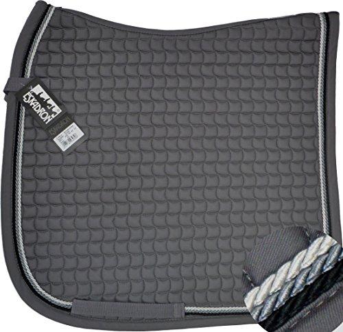 ESKADRON Cotton Schabracke grau, 3fach Kordel black,anthrazit,silberfarben, Form:Pony Dressur