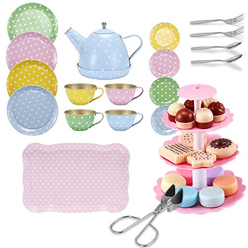 FUQUN Afternoon Tea Party Teaset - Metall-Teeservice für Kinder - Rollenspiel-Kekse, illustriertes buntes Design-Spielzeug-Teeset für Kinder Rollenspiel