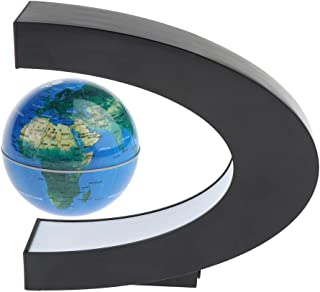 Prettyia Magnetism Levitation Floating Rotating World Globe C-Shape LED Light Desktop