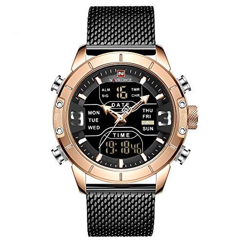 Relógio Masculino Naviforce NF9153 RGB Pulseira em Aço Inoxidável - Preto e Dourado Rose