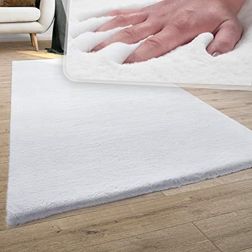Paco Home Tapis Poils Longs, Shaggy pour Salon, Moelleux, Doux, Lavable, Blanc Uni, Dimension:120x170 cm