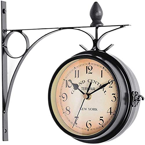 MU2827924 Gartenuhr Resistente a la Intemperie al Aire Libre, Forjado de Hierro de época Relojes de Pared de Doble Cara Exterior con Pilas de la Doble Cara de la Vendimia Reloj de Pared,Negro