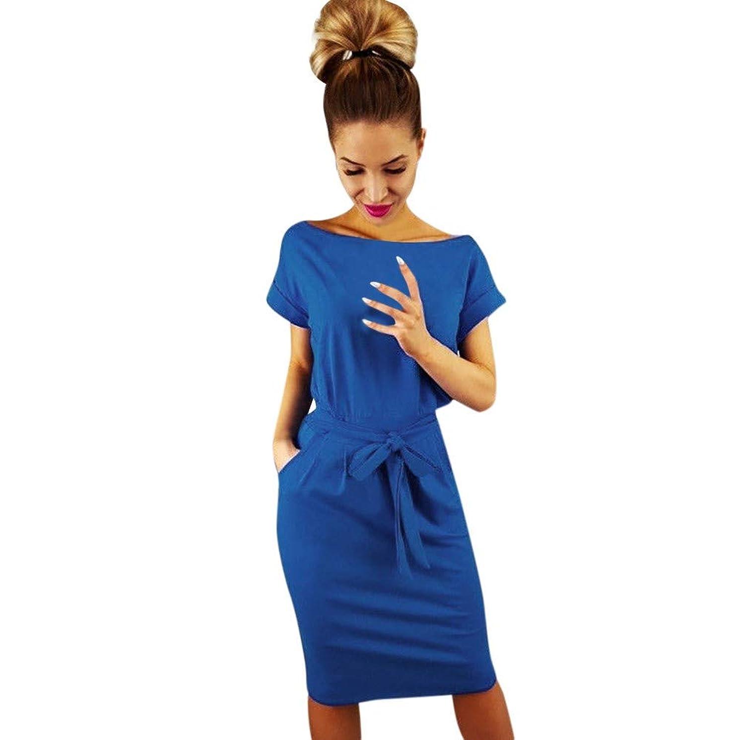 Adeliber Women's Short Sleeve Dress Casual Pocket Summer Solid Color Belt Party Mini Dress