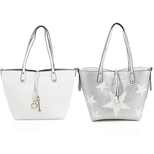 LeahWard Women s Reversible Handbags 2 In 1 Shoulder Shopper Bags 9002 93356b4b54184